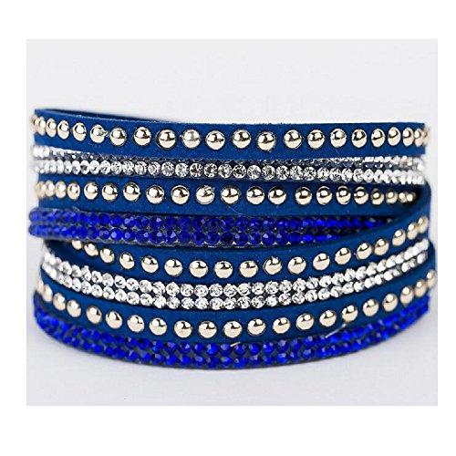 Costume Homme Nouvel An (Fariishta Jewelry Flannelette Fashion Diamond Blue Leather Cuff Bracelet)