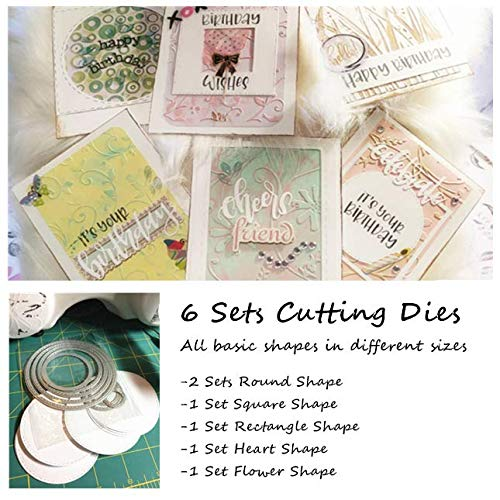 BENECREAT 6 Sets Cutting Dies Cut Metal Scrapbooking Stencils Nesting Die for Festival Chrismas Embossing Photo Album Cards Making - Round, Square, Rectangle, Heart, Flower