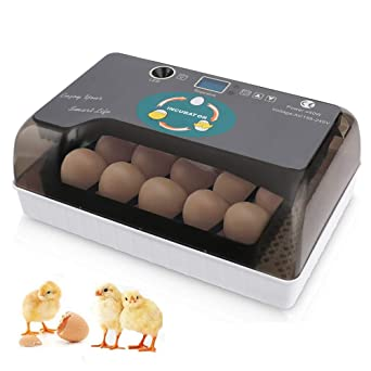 24 Eggs Incubator Fully Automatic Egg LED Light Base Adjustable Temperature Digital Home Laboratory Poultry Incubator Chicken Bird Egg Incubator