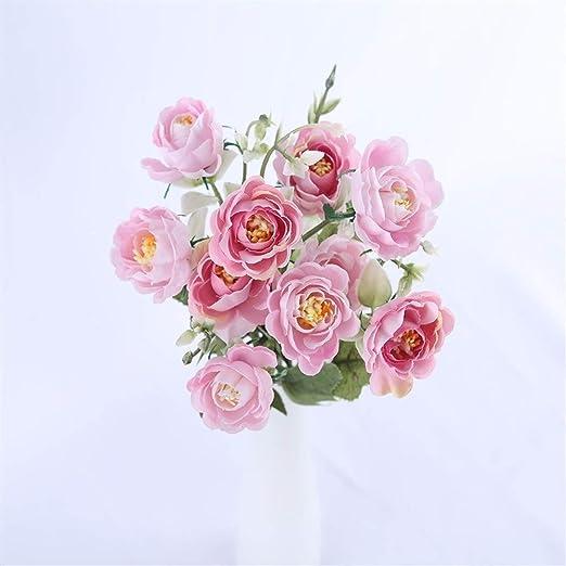 Luosanhe 10 Cabezas Vivid peonía pequeña Ramo de Flores ...