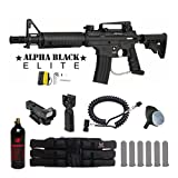 Tippmann US Army Alpha Black Elite Tactical Red Dot Paintball Gun Package - Black