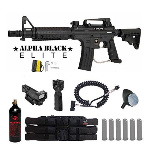 Tippmann US Army Alpha Black Elite Tactical Red Dot Paintball Gun Package - Black (Alpha Black Paintball Gun Egrip)
