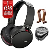 Sony XB950B1 Extra Bass Wireless Headphones with App Control Black 2017 model (MDRXB950B1/B) with Wood Headphone Stand, HardBody PRO Full Sized Headphone Case Black & 1 Year Extended Warranty