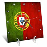 3dRose dc_28281_1 Portugal Flag-Desk Clock, 6 by 6-Inch