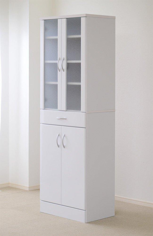 シンプルでおしゃれな食器棚 ホワイト 90cm×90cm (レンジワゴンレンジ台鏡面エコファ加工) B0732PN84K 幅90(レンジワゴンタイプ)  幅90(レンジワゴンタイプ)