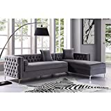 Giovanni Velvet Right Facing Chaise Sectional w/Storage, Grey 115