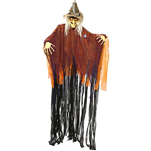 Halloween Haunters Hanging 9 Foot Scary Scarecrow Witch, Cackle Laughs, Red LED Eyes Prop Decoration - Spooky Cackling, Sound & Touch Activated - Huge Haunted House Graveyard Entryway Display