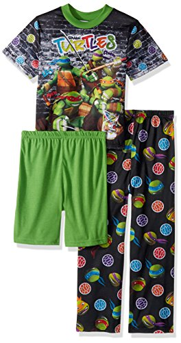 Nickelodeon Little Boys' TMNT 3-Piece Pajama Set, Turtle Black, 4