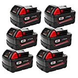 6Pack 4000mAh 18V Replacement Battery for Milwaukee M18 Series Lithium-ion Cordless Power Tool 48-11-1850 48-11-1852 48-11-1840 48-11-1828 M18 Batteries