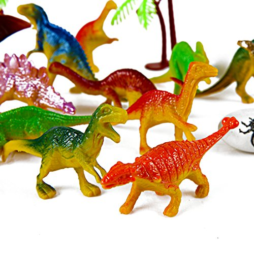 Mini Dinosaur Toy Set 35 PC Plastic Assorted Figures As Cake Toppers For Birt