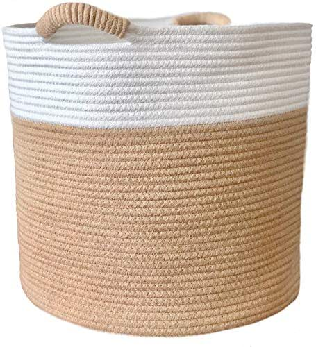 RawGeneration Woven Cotton Rope Storage Basket 15x15x14 Inches | Organic Nursery Hamper Bin and Organizer for Baby Blankets, Toys, Towels and Laundry