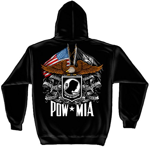 Mia T-shirt Sweatshirt - Patriotic Hooded Sweatshirt, 100% Cotton Casual Mens Shirts, Show Your Pride with our POW MIA Tribute Double Flag Long Sleeve Sweatshirts for Men or Women (XXX-Large)