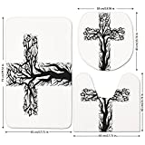 3 Piece Bathroom Mat Set,Baptism,Floral-Christian-Cross-in-Tree-Shape-Christ-Religion-Prayer-Blessed-Miracle-Symbol,Black-Cream.jpg,Bath Mat,Bathroom Carpet Rug,Non-Slip