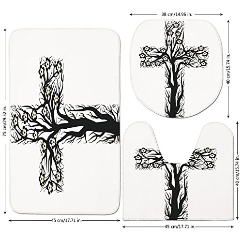 3 Piece Bathroom Mat Set,Baptism,Floral-Christian-Cross-in-Tree-Shape-Christ-Religion-Prayer-Blessed-Miracle-Symbol,Black-Cream.jpg,Bath Mat,Bathroom Carpet Rug,Non-Slip by iPrint