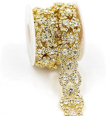 De. De. 1 Yard blining blining Crystal Rhinestone Recorte floral ...