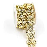 De.De. 1 Yard Blining Blining Crystal Rhinestone Trim Applique Flower Luxury Costume Chain Golden