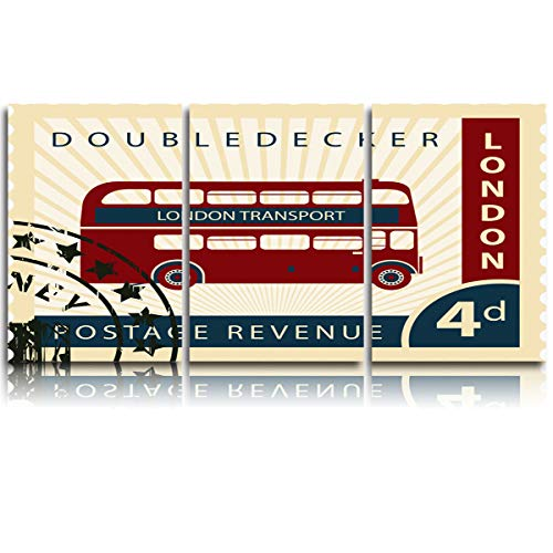 Arts Language 3 Pieces Canvas Print Wall Art for Office/Livingroom/Bedroom Vintage London Double Decker Stamp Collection Stretched and Framed Modern Giclee Artwork Wall Decor 24x36inx3