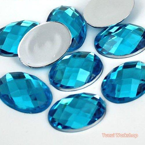 (Blue, 15pcs, 18mm x 25mm) Oval Shape Checker Cut Acrylic Flat Back Rhinestones Cabochons Scrapbooking Art Craft