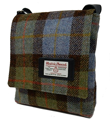 Harris Messenger Trim Blue Tweed Leather Bag Harris with Tweed HwxdTqRd4