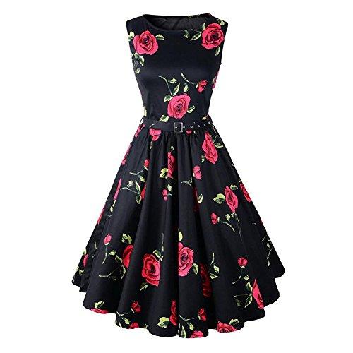 Haodasi Frauen Noble Jahrgang Hepburn 1950 ärmel Rose Blumendruck -Swing-Kleid