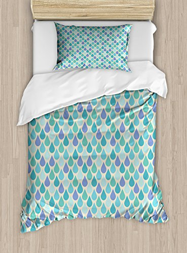 Ambesonne Teal Duvet Cover Set Twin Size, Colorful Water Droplets Rain Themed Image Natural World in Abstract Manner, Decorative 2 Piece Bedding Set with 1 Pillow Sham, Aqua Teal -