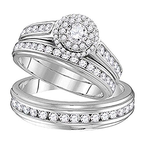 Dream Jewels 1.58 ct Round Cut Sim. Diamond 14k White Gold Fn Wedding Ring Trio Set For Him & Her .925 Sterling Silver