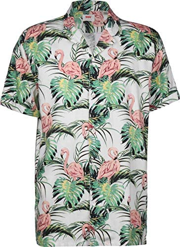 "BNWT Levi/'s Short Sleeve FLAMINGO LEAF PRINT Cubano Shirt XL 50/"" CHEST"