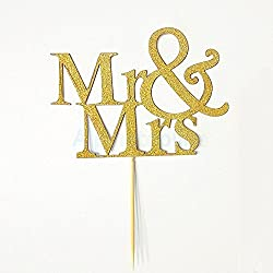 Gold Glitter Mr Mrs Cupcake Cake Toppers Pick Wedding Decorations