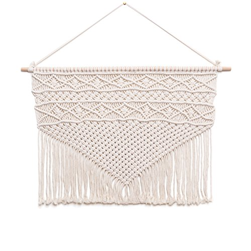 """Objects in Space Macrame Wall Hanging, Large Handmade Boho Decor, 32"""" W x 22"""" L, Cotton"""