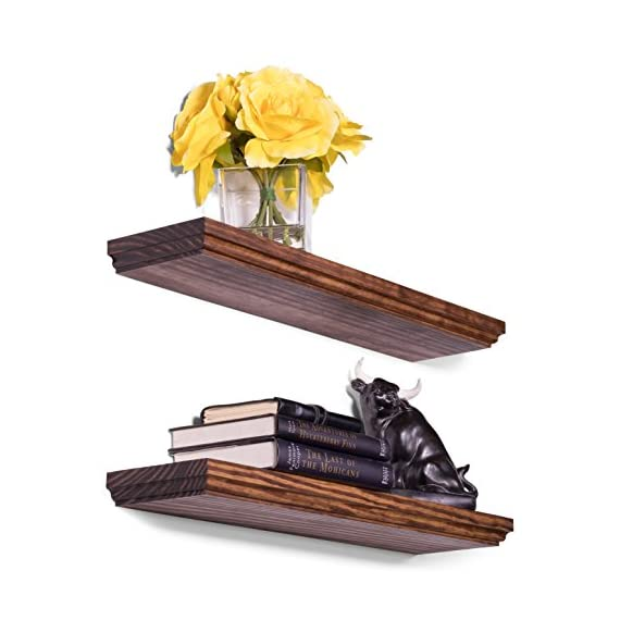 """DAKODA LOVE 5.25"""" Deep Routed Edge Floating Shelves, USA Handmade, Clear Coat Finish, 100% Countersunk Hidden Floating Shelf Brackets, Beautiful Grain Pine Wood Wall Decor (Set of 2) (24"""", Bourbon) - True floating shelves with routed edges. Sits flush against wall with 100% countersunk hidden brackets (includes all mounting hardware) Handcrafted with furniture grade dry kilned pine wood Hand wiped stain and clear coat finish - wall-shelves, living-room-furniture, living-room - 51eW%2By3YvbL. SS570  -"""