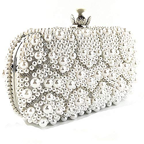 Package Beaded Square Satchel Shoulder Women's Dress Tote with Cheongsam Vintage Handmade Crossbody White Bag Messenger Small Clutch FZHLY Bag Evening znw6xUPqf1