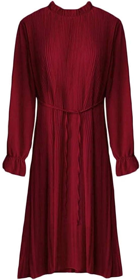 Vgvgh Womens Chiffon Slim Party Long Sleeve Pleated Swing Falbala Dress
