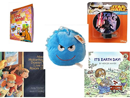 Children's Gift Bundle - Ages 3-5 [5 Piece] - Scooby-Doo. First Words Card Game - Star Wars Darth Vader Night Light - Plush Appeal Bright Blue Mischievous Face Plush 7