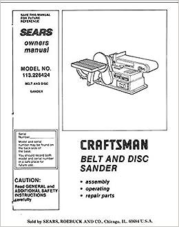 craftsman belt sander owners manual
