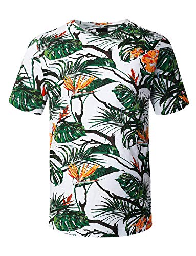 URBANCREWS Mens Hipster Hip Hop Tropical Allover Print T-Shirt Olive XLarge