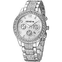Luxury Unisex Crystal Diamond Watches Quartz Digital Calendar Rose Gold Silver Stainless Steel Watch (Silver)