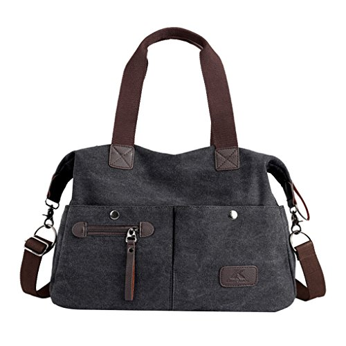 Lonson Unisex Large Capacity Multiple-pockets Shoulder Bag with Removable Strap Black One Size