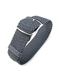 20mm MiLTAT Perlon Watch Strap, Braided Nylon Dark Grey, Polished Ladder Lock Buckle