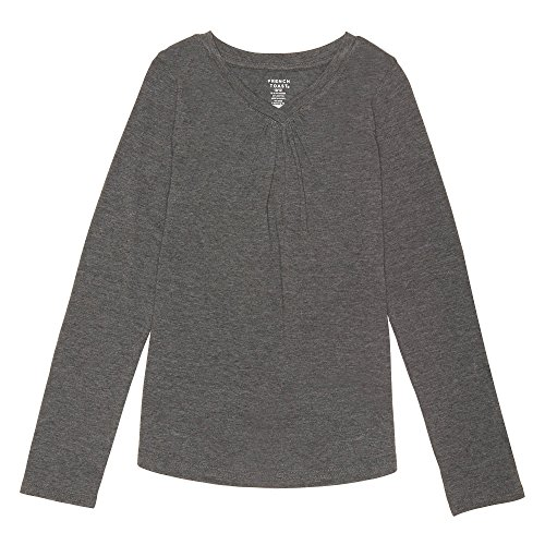 French Toast Girls' Little Long Sleeve V-Neck Tee, Charcoal Heather Gray Single Dye, 4