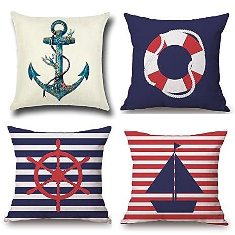 Amazon Creatife Cotton Linen Pillow Cover Nautical Anchor Cool Nautical Decorative Pillow Covers