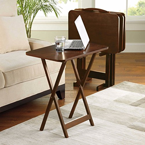 Wood 5 Piece Tv Tray (5 Piece Tray Table Set Folding Wood TV Game Snack Dinner Couch Laptop Stand NEW Walnut)