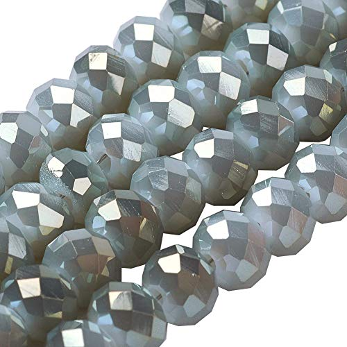 - NBEADS 10 Strands of Gray Briolette Glass Beads, 4mm Rondelle Faceted Glass Beads for Jewelry Making, DIY Beading Projects, Bracelets, Necklaces, Earrings