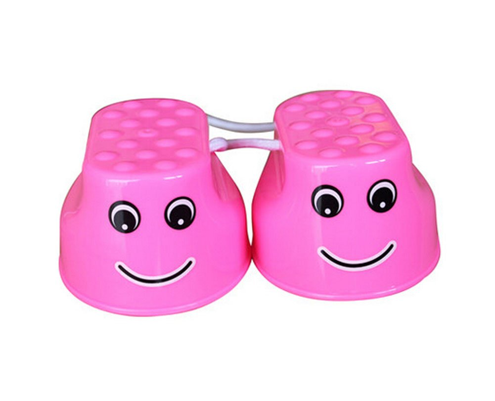Outdoor Sports Toys Smiley Face Stilts 1 Pair PINK by Panda Superstore