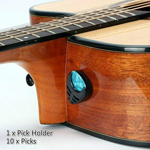 Guitar Picks & Guitar Pick Holder Easy to Paste on the Guitar Suitable for Acoustic Guitar Electric Guitar Bass Ukulele - Stick-on Holder + 10 Pcs Guitar Picks (Black Holders)