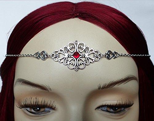 Ruby Red Elven Silver Filigree Circlet (Medieval Circlet)
