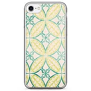 iPhone 8 Transparent Edge Phone case Elgant Pattern Phone Case Green And Orange Style iPhone 8 Cover with Transparent Bumper
