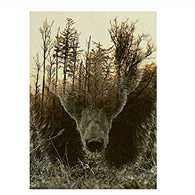 Adult Puzzle Classic Jigsaw Puzzle 1000 Pieces Wooden Puzzle DIY Forest Map Bear Modern Home Decor Unique Gift Intellectual Game 75x50cm: Toys & Games