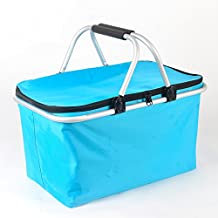 Picnic Basket, IHOMAGIC 32L Large Family Size Picnic Insulated Bag, BBQ Meat Drinks Cooler Bag Ultra-size Folding Collapsible Lunch Basket for Holidays Parties Outdoor Travel, Picnic, Grill Light Blue