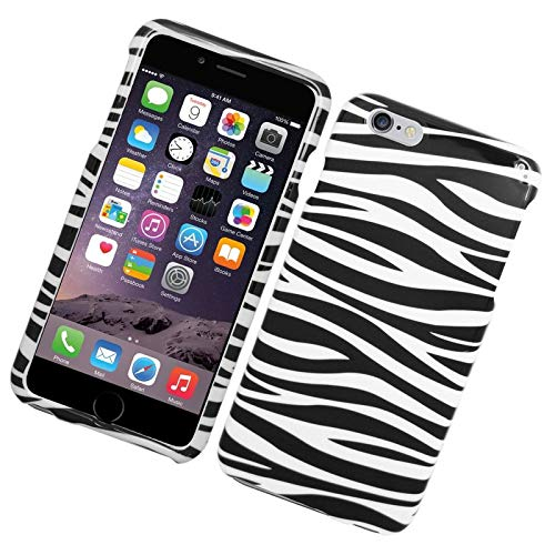 Insten Zebra Rubberized Hard Snap-in Case Cover Compatible with Apple iPhone 6 Plus/6s Plus, Black/White