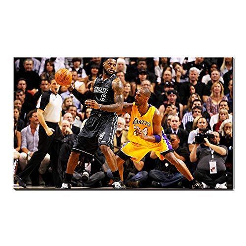 James Fabric Lebron (Kobe Bryant Vs Lebron James Basktball Home Decor Sports Poster Painting Canvas Prints Pictures Artwork)